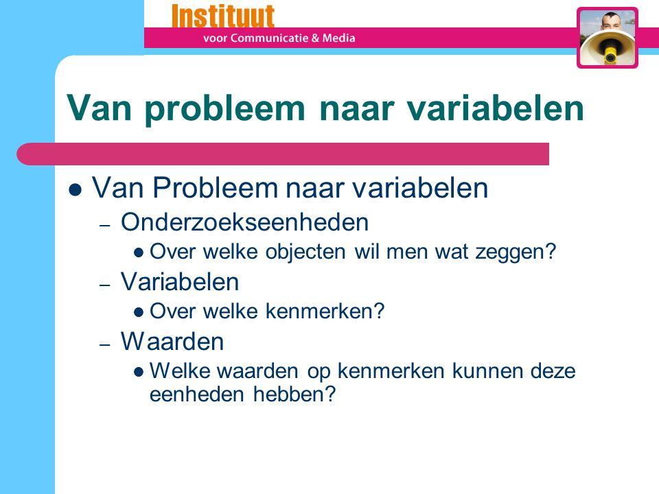 Van probleem naar variabelen Van Probleem naar variabelen – Onderzoekseenheden Over welke objecten wil men wat zeggen.