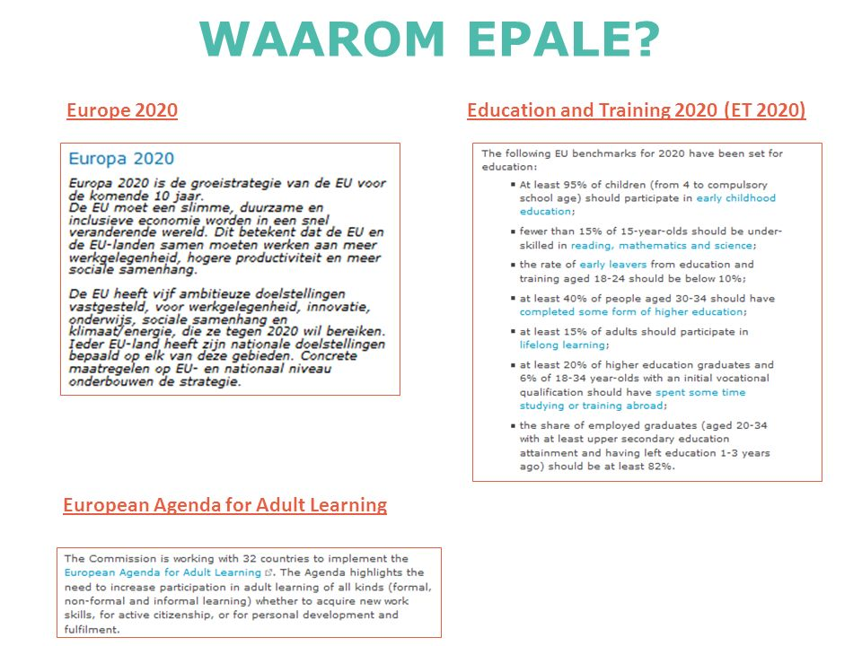 Europe 2020Education and Training 2020 (ET 2020) European Agenda for Adult Learning WAAROM EPALE?