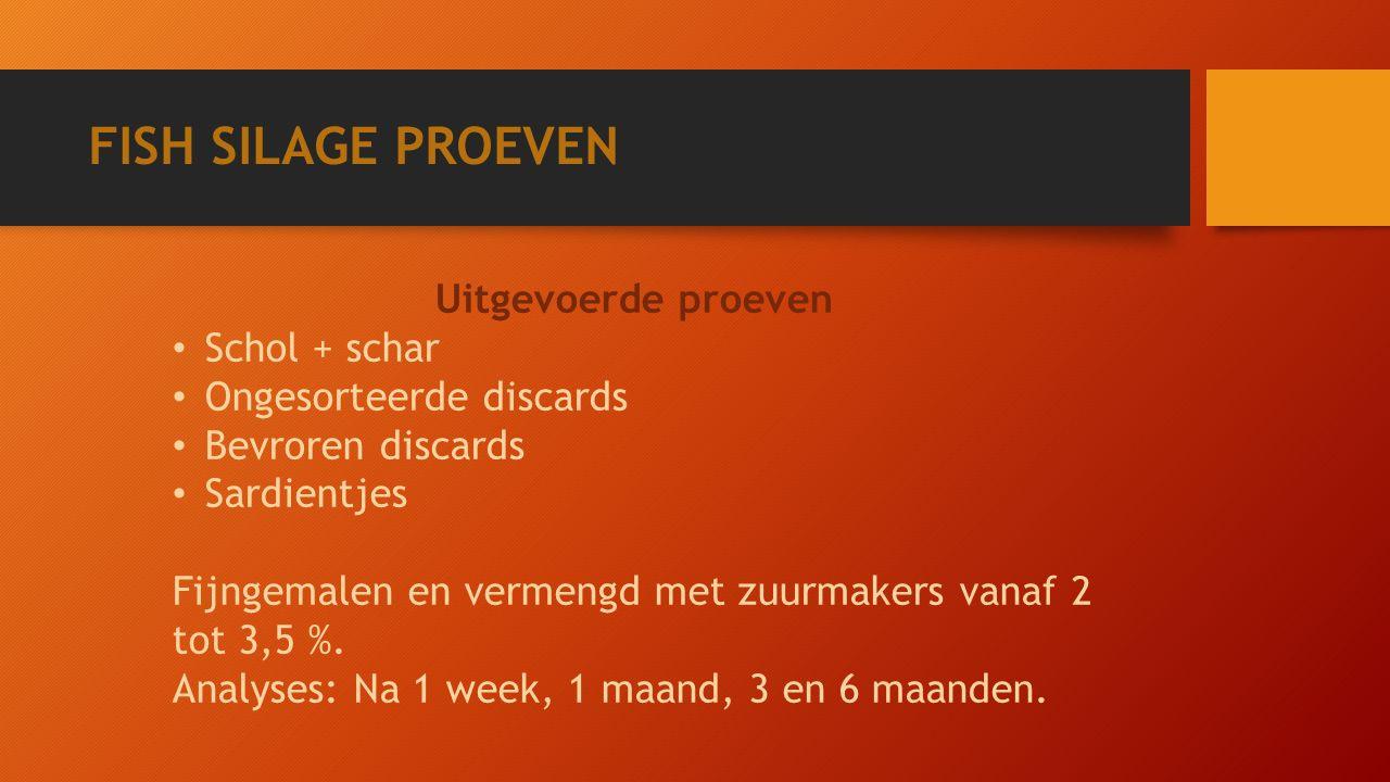 FISH SILAGE PROEVEN Uitgevoerde proeven Schol + schar Ongesorteerde discards Bevroren discards Sardientjes Fijngemalen en vermengd met zuurmakers vanaf 2 tot 3,5 %.