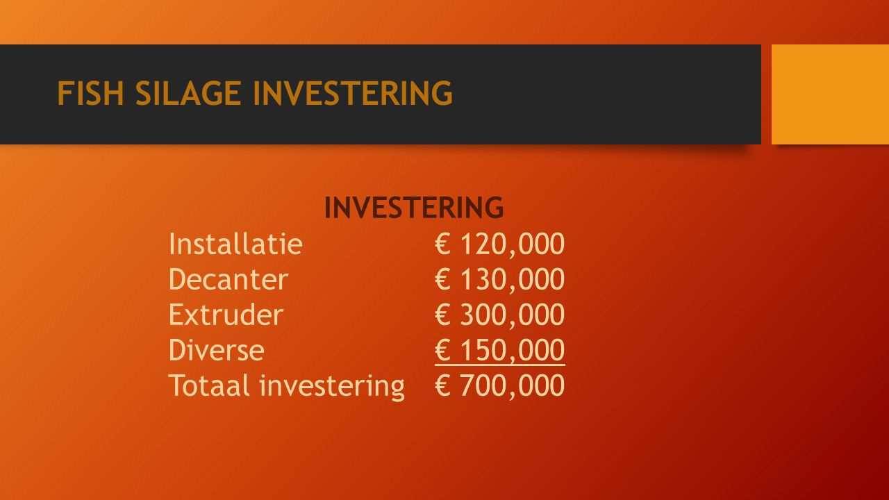 FISH SILAGE INVESTERING INVESTERING Installatie€ 120,000 Decanter€ 130,000 Extruder€ 300,000 Diverse€ 150,000 Totaal investering€ 700,000