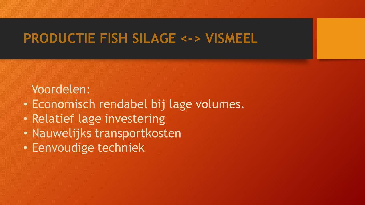 PRODUCTIE FISH SILAGE VISMEEL Voordelen: Economisch rendabel bij lage volumes.