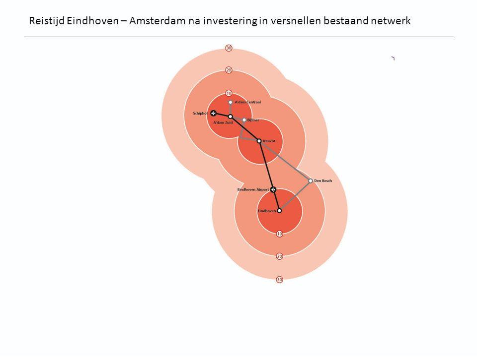 Reistijd Eindhoven – Amsterdam na investering in versnellen bestaand netwerk