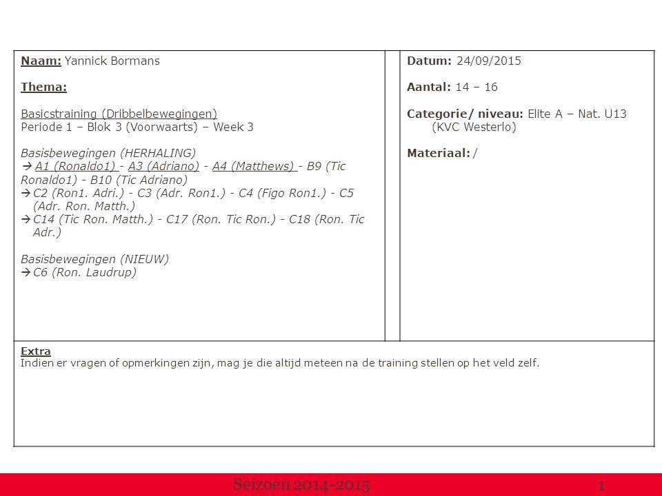 Naam: Yannick Bormans Thema: Basicstraining (Dribbelbewegingen) Periode 1 – Blok 3 (Voorwaarts) – Week 3 Basisbewegingen (HERHALING)  A1 (Ronaldo1) - A3 (Adriano) - A4 (Matthews) - B9 (Tic Ronaldo1) - B10 (Tic Adriano)  C2 (Ron1.