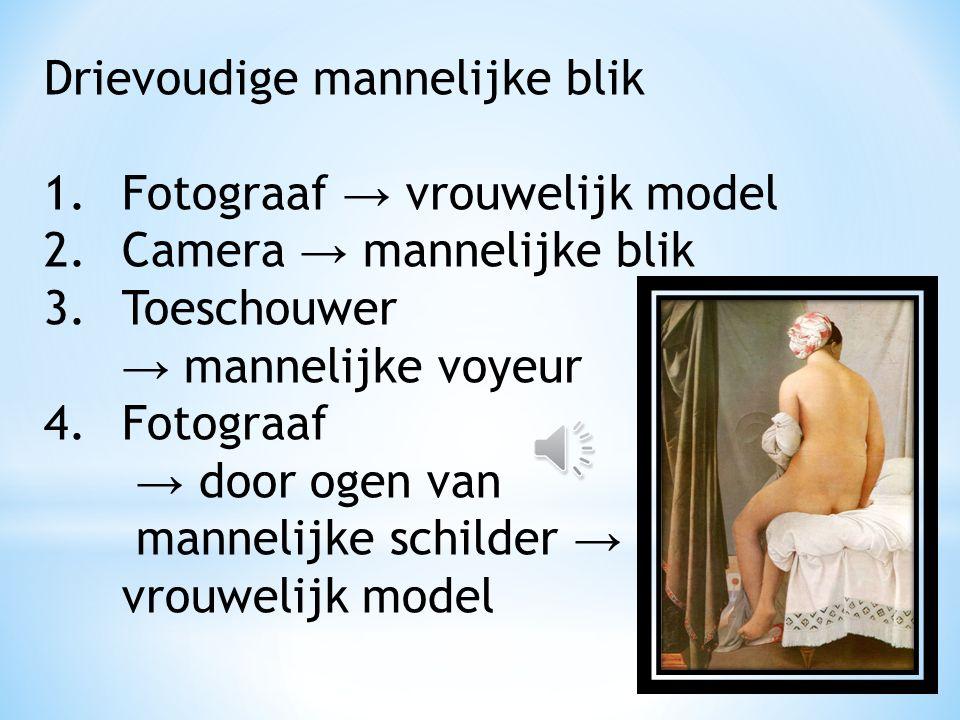 Objectivering vrouwelijk lichaam, voyeurisme. Achterzijde naakte vrouw → om naar te kijken to-be-looked-at-ness