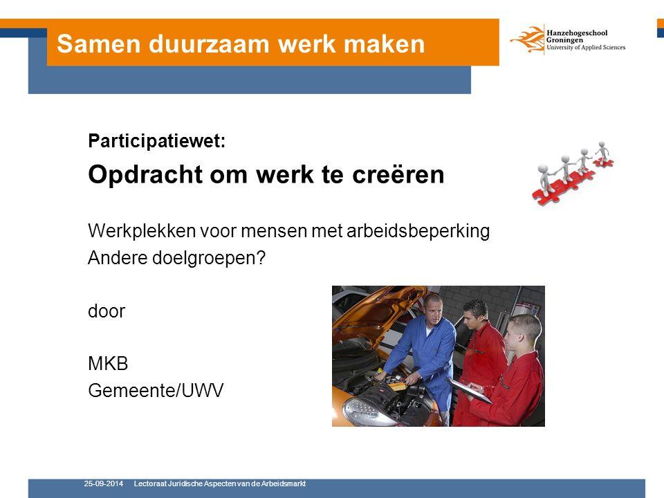Samen duurzaam werk maken Participatiewet: Opdracht om werk te creëren Werkplekken voor mensen met arbeidsbeperking Andere doelgroepen.