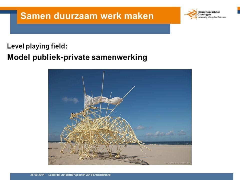 Samen duurzaam werk maken Level playing field: Model publiek-private samenwerking 25-09-2014Lectoraat Juridische Aspecten van de Arbeidsmarkt