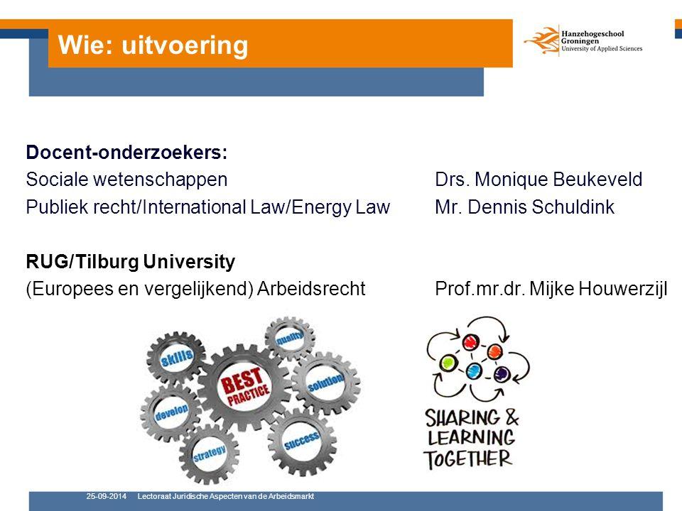 Wie: uitvoering Docent-onderzoekers: Sociale wetenschappen Drs.