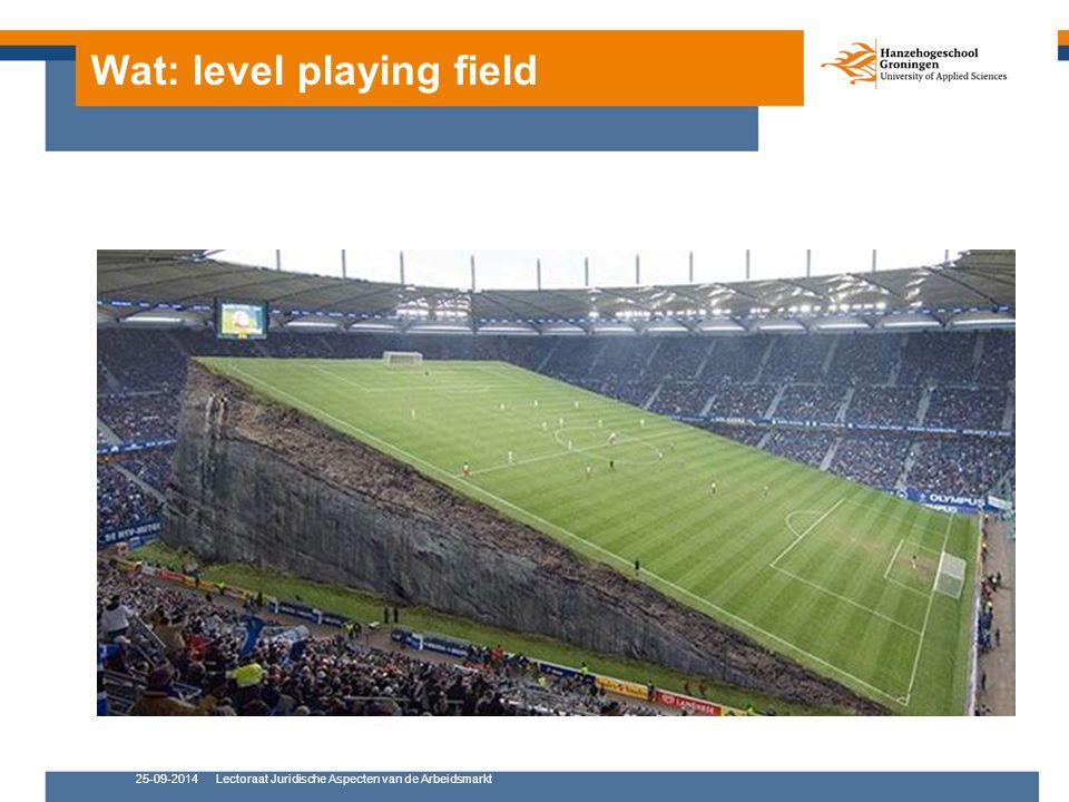 25-09-2014Lectoraat Juridische Aspecten van de Arbeidsmarkt Wat: level playing field