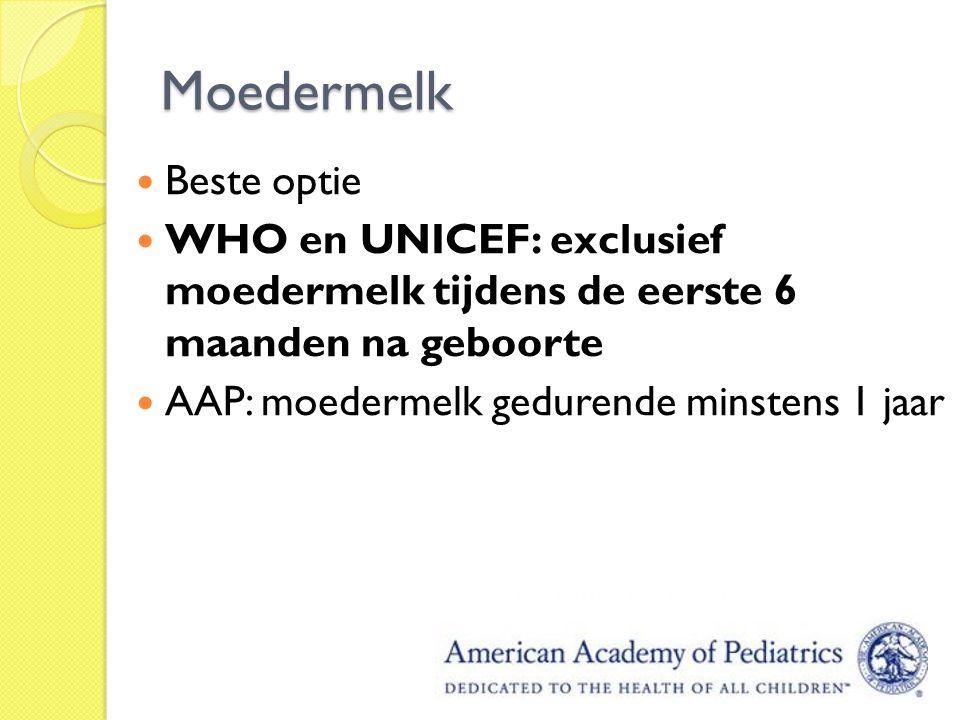 Moedermelk Beste optie WHO en UNICEF: exclusief moedermelk tijdens de eerste 6 maanden na geboorte AAP: moedermelk gedurende minstens 1 jaar
