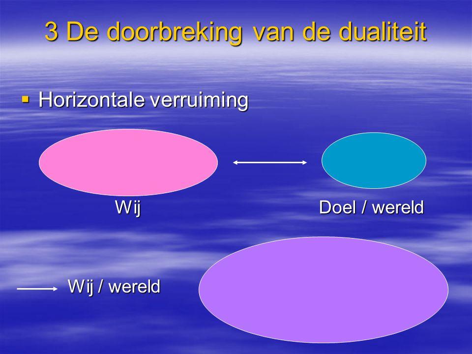 3 De doorbreking van de dualiteit  Horizontale verruiming Wij Doel / wereld Wij / wereld