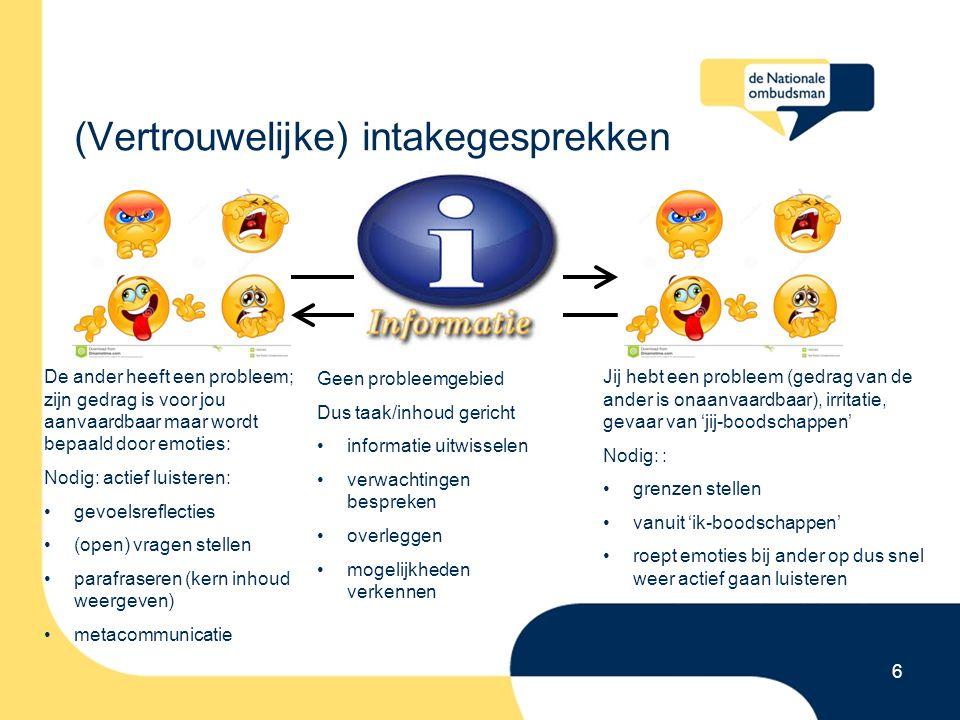 (Vertrouwelijke) intakegesprekken 6 De ander heeft een probleem; zijn gedrag is voor jou aanvaardbaar maar wordt bepaald door emoties: Nodig: actief luisteren: gevoelsreflecties (open) vragen stellen parafraseren (kern inhoud weergeven) metacommunicatie Jij hebt een probleem (gedrag van de ander is onaanvaardbaar), irritatie, gevaar van 'jij-boodschappen' Nodig: : grenzen stellen vanuit 'ik-boodschappen' roept emoties bij ander op dus snel weer actief gaan luisteren parafraseren (kern inhoud weergeven) metacommunicatie Geen probleemgebied Dus taak/inhoud gericht informatie uitwisselen verwachtingen bespreken overleggen mogelijkheden verkennen