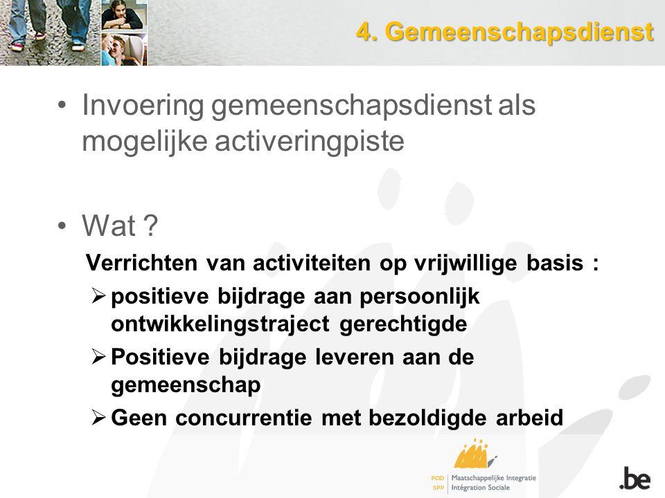 4.Gemeenschapsdienst Invoering gemeenschapsdienst als mogelijke activeringpiste Wat .