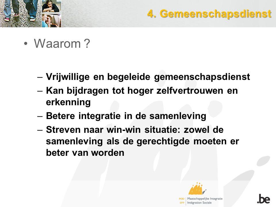 4.Gemeenschapsdienst 4.Gemeenschapsdienst Waarom .