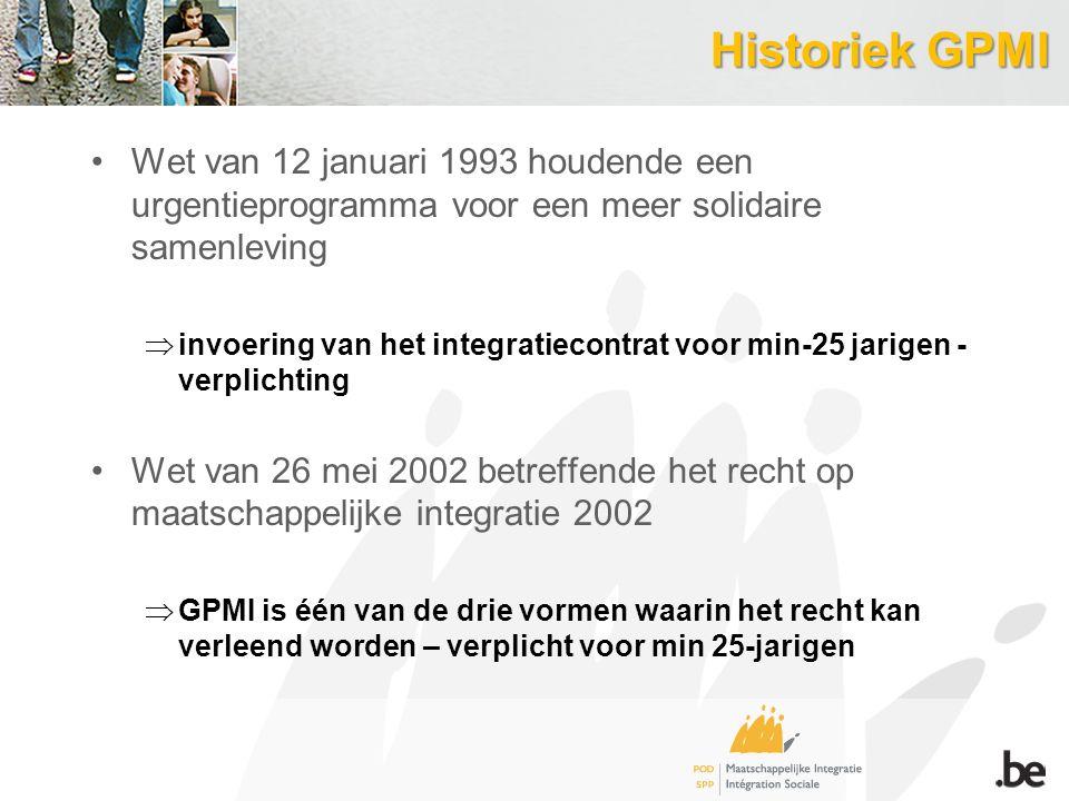 Historiek GPMI Wet van 12 januari 1993 houdende een urgentieprogramma voor een meer solidaire samenleving  invoering van het integratiecontrat voor min-25 jarigen - verplichting Wet van 26 mei 2002 betreffende het recht op maatschappelijke integratie 2002  GPMI is één van de drie vormen waarin het recht kan verleend worden – verplicht voor min 25-jarigen