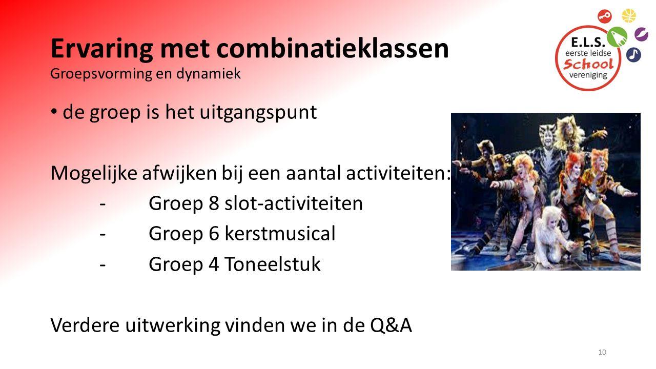 Ervaring met combinatieklassen Groepsvorming en dynamiek de groep is het uitgangspunt Mogelijke afwijken bij een aantal activiteiten: -Groep 8 slot-activiteiten -Groep 6 kerstmusical -Groep 4 Toneelstuk Verdere uitwerking vinden we in de Q&A 10