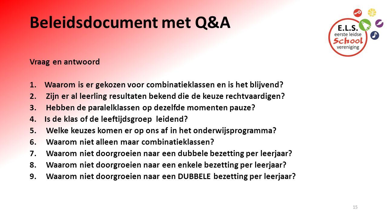 Beleidsdocument met Q&A Vraag en antwoord 1. Waarom is er gekozen voor combinatieklassen en is het blijvend? 2.Zijn er al leerling resultaten bekend d