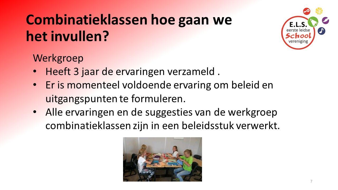 Werkgroep Combinatieklassen De werkgroep bestaat uit: Roelie Smittenaar (interne begeleiding) Marloes Brouwer (leerkracht groep 5-6) Martine Spanjer (leerkracht groep 5) Nanette Donker (Leerkracht groep 8A).