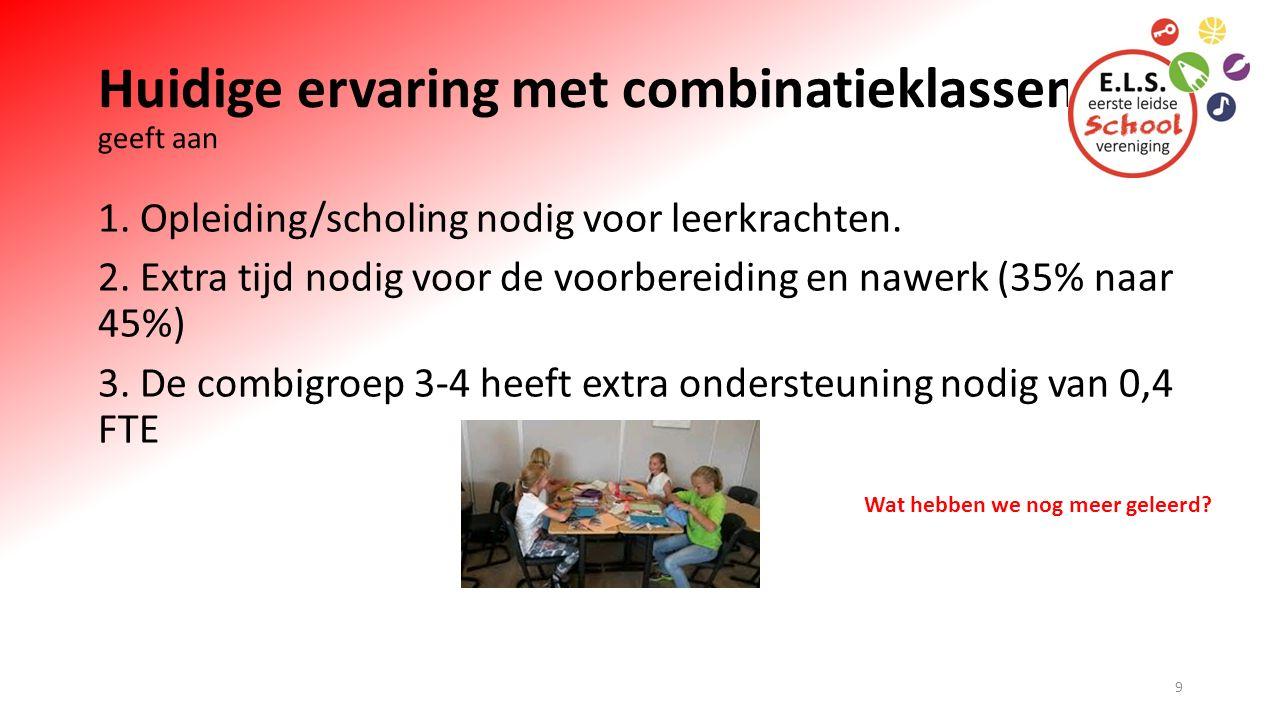 Huidige ervaring met combinatieklassen geeft aan 1. Opleiding/scholing nodig voor leerkrachten. 2. Extra tijd nodig voor de voorbereiding en nawerk (3