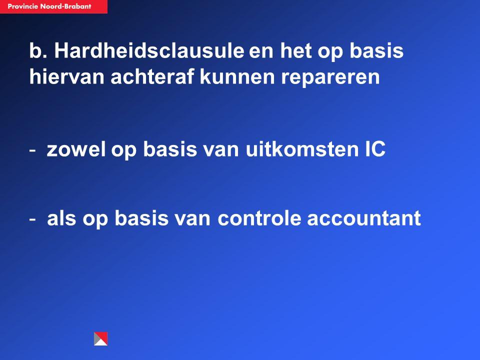 b. Hardheidsclausule en het op basis hiervan achteraf kunnen repareren -zowel op basis van uitkomsten IC -als op basis van controle accountant