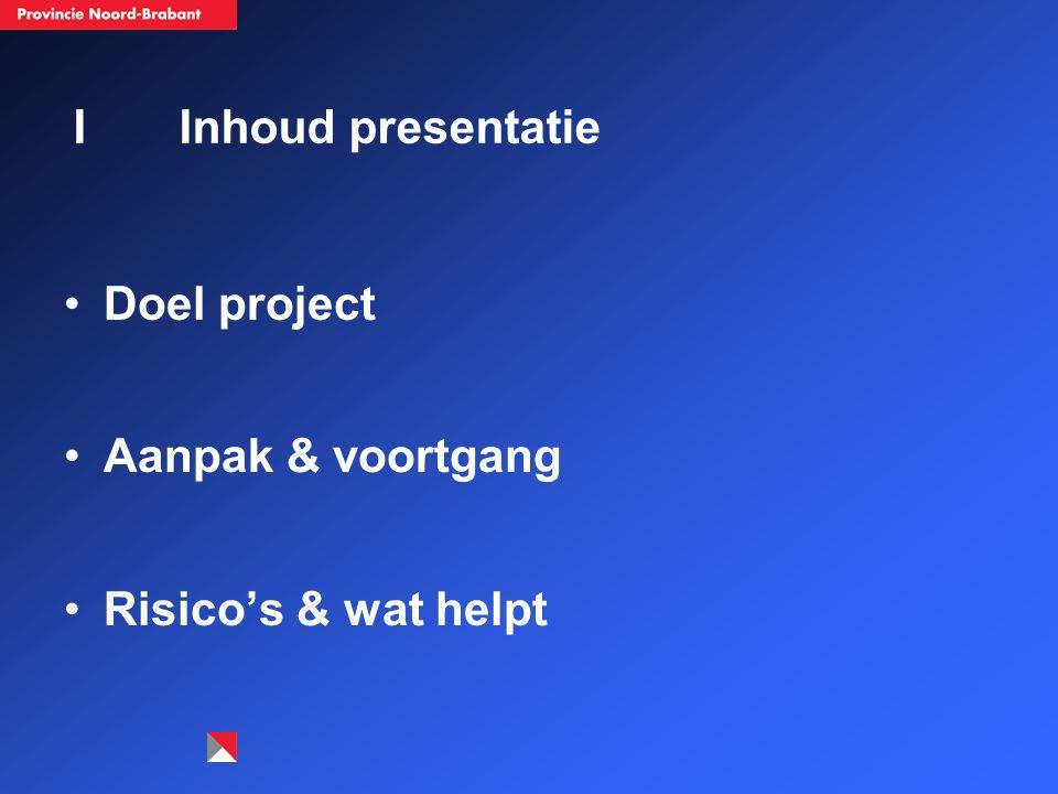IInhoud presentatie Doel project Aanpak & voortgang Risico's & wat helpt