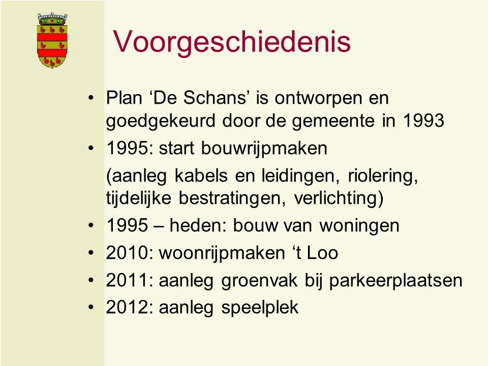 Voorgeschiedenis Plan 'De Schans' is ontworpen en goedgekeurd door de gemeente in 1993 1995: start bouwrijpmaken (aanleg kabels en leidingen, riolering, tijdelijke bestratingen, verlichting) 1995 – heden: bouw van woningen 2010: woonrijpmaken 't Loo 2011: aanleg groenvak bij parkeerplaatsen 2012: aanleg speelplek