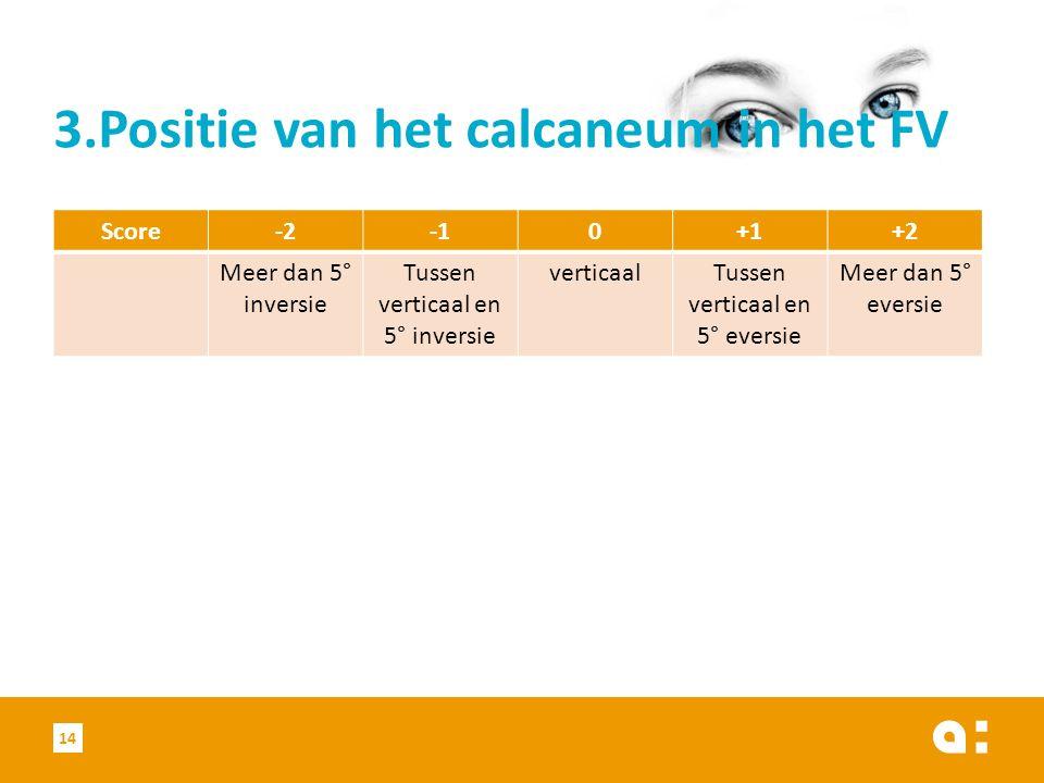 3.Positie van het calcaneum in het FV Score-20+1+2 Meer dan 5° inversie Tussen verticaal en 5° inversie verticaalTussen verticaal en 5° eversie Meer dan 5° eversie 14