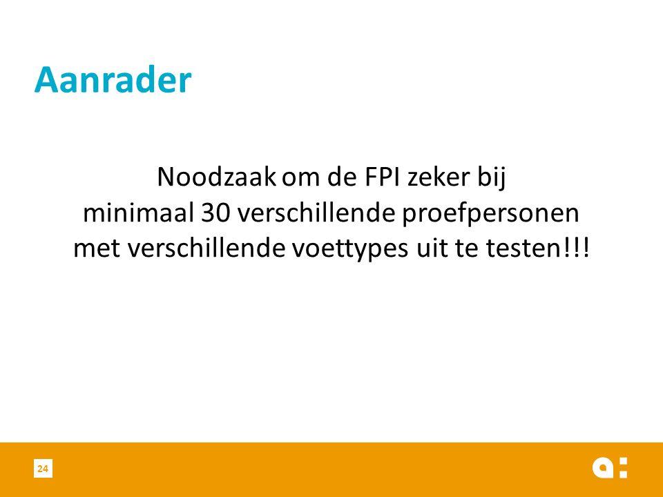 Noodzaak om de FPI zeker bij minimaal 30 verschillende proefpersonen met verschillende voettypes uit te testen!!.