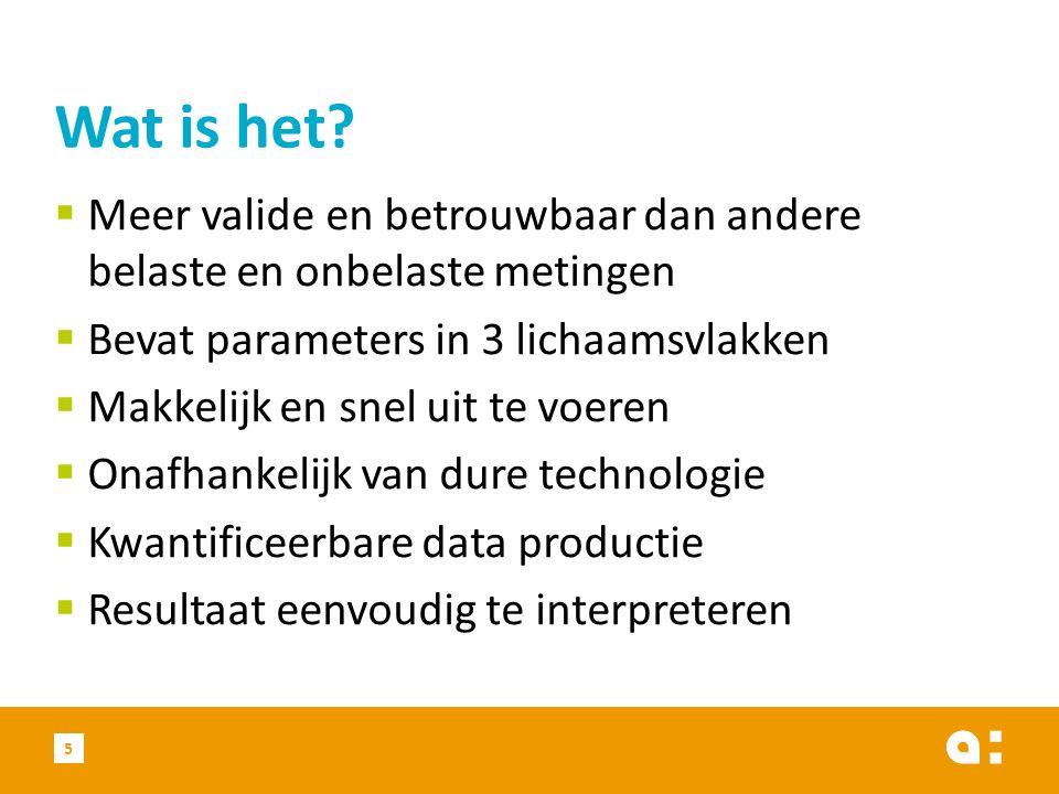  Meer valide en betrouwbaar dan andere belaste en onbelaste metingen  Bevat parameters in 3 lichaamsvlakken  Makkelijk en snel uit te voeren  Onafhankelijk van dure technologie  Kwantificeerbare data productie  Resultaat eenvoudig te interpreteren Wat is het.