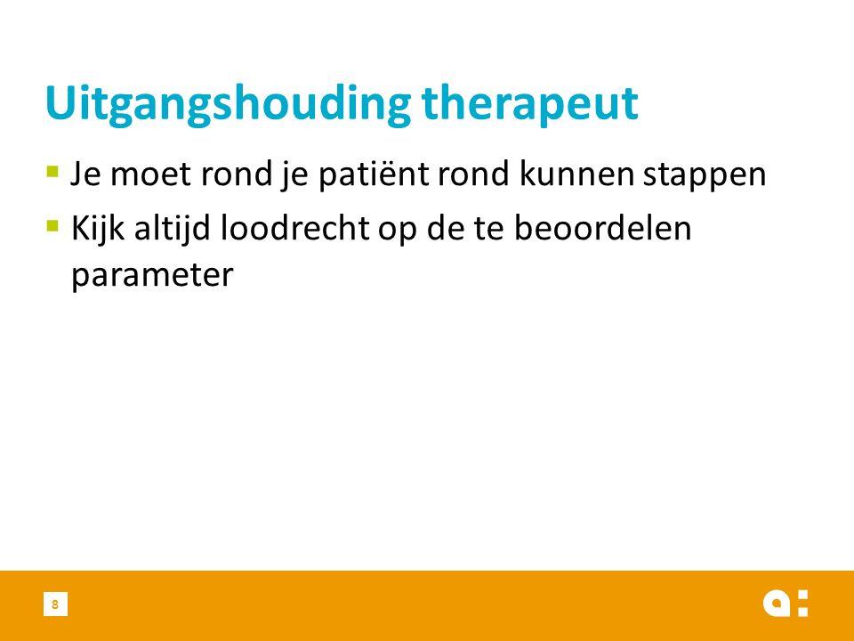  Je moet rond je patiënt rond kunnen stappen  Kijk altijd loodrecht op de te beoordelen parameter Uitgangshouding therapeut 8