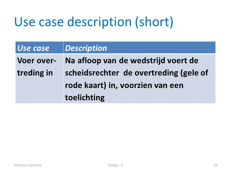 Use case description (short) Software SystemsDesign - 219 Use caseDescription Voer over- treding in Na afloop van de wedstrijd voert de scheidsrechter