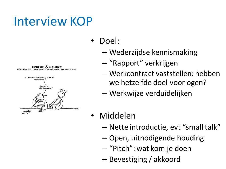Interview KOP Doel: – Wederzijdse kennismaking – Rapport verkrijgen – Werkcontract vaststellen: hebben we hetzelfde doel voor ogen.