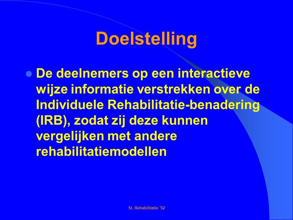 Doelstelling De deelnemers op een interactieve wijze informatie verstrekken over de Individuele Rehabilitatie-benadering (IRB), zodat zij deze kunnen
