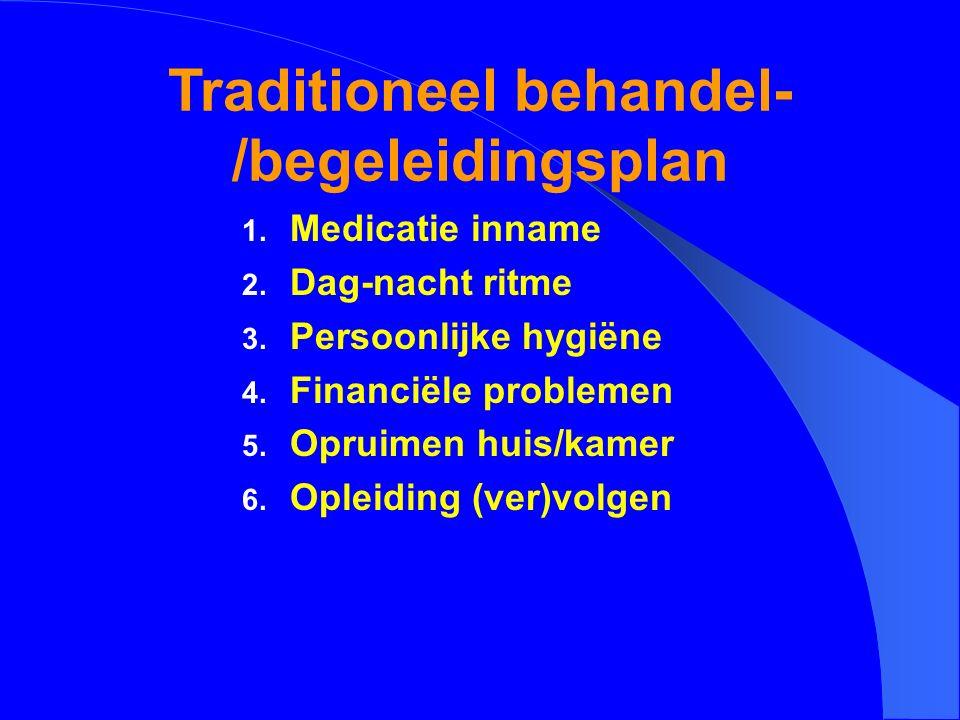 Traditioneel behandel- /begeleidingsplan 1. Medicatie inname 2. Dag-nacht ritme 3. Persoonlijke hygiëne 4. Financiële problemen 5. Opruimen huis/kamer