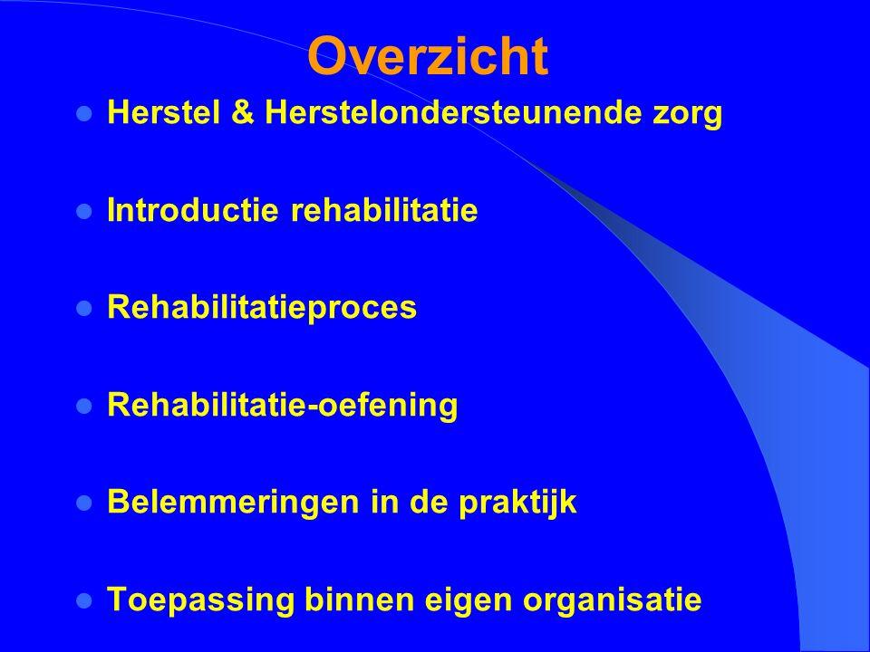 Overzicht Herstel & Herstelondersteunende zorg Introductie rehabilitatie Rehabilitatieproces Rehabilitatie-oefening Belemmeringen in de praktijk Toepa