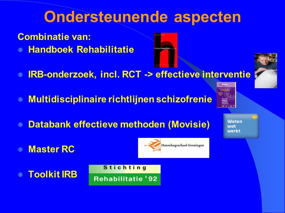 Ondersteunende aspecten Combinatie van: Handboek Rehabilitatie IRB-onderzoek, incl. RCT -> effectieve interventie Multidisciplinaire richtlijnen schiz