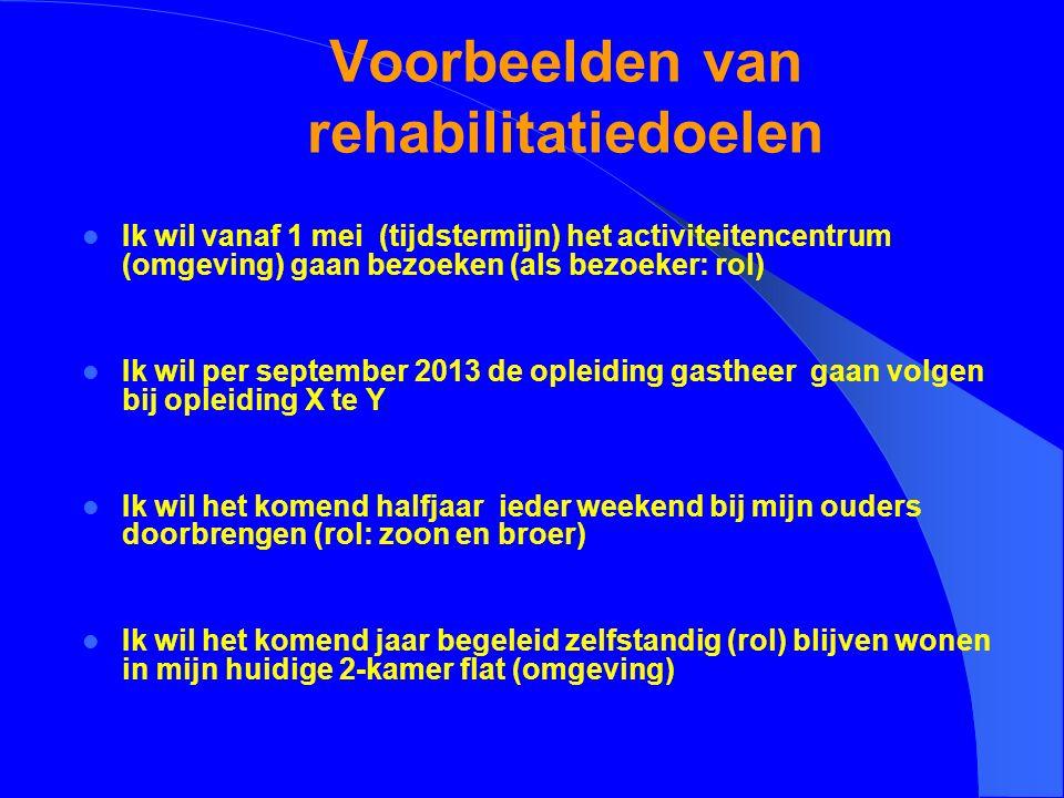 Voorbeelden van rehabilitatiedoelen Ik wil vanaf 1 mei (tijdstermijn) het activiteitencentrum (omgeving) gaan bezoeken (als bezoeker: rol) Ik wil per