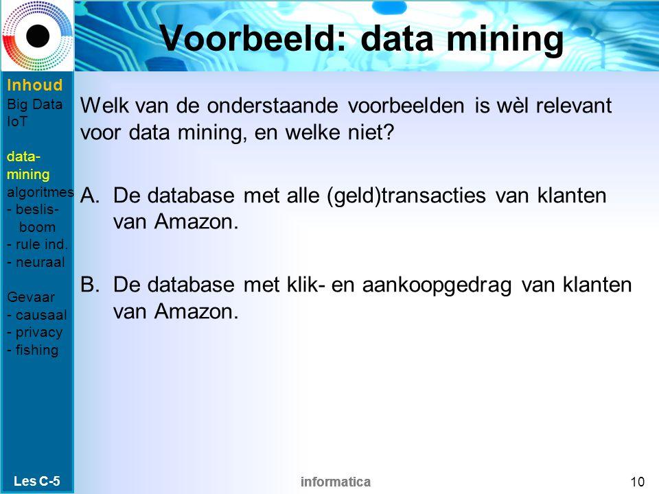 informatica Voorbeeld: data mining Welk van de onderstaande voorbeelden is wèl relevant voor data mining, en welke niet? A.De database met alle (geld)