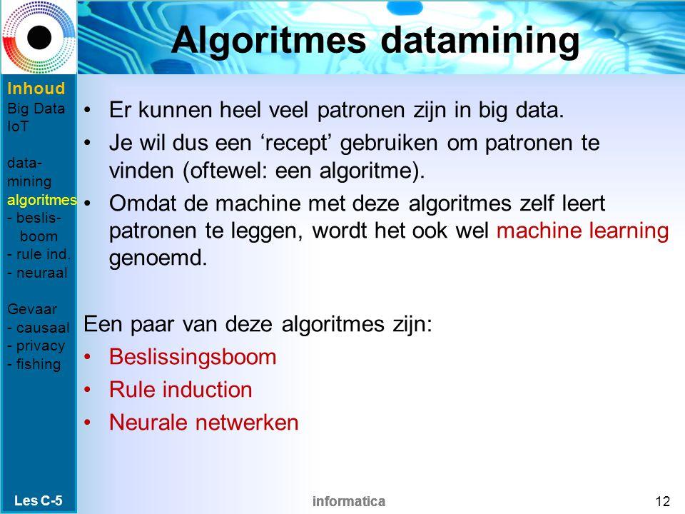 informatica Algoritmes datamining Er kunnen heel veel patronen zijn in big data. Je wil dus een 'recept' gebruiken om patronen te vinden (oftewel: een