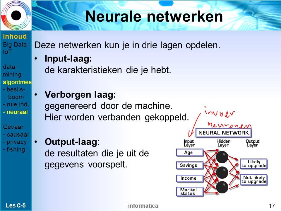 informatica Neurale netwerken Deze netwerken kun je in drie lagen opdelen. Input-laag: de karakteristieken die je hebt. Verborgen laag: gegenereerd do