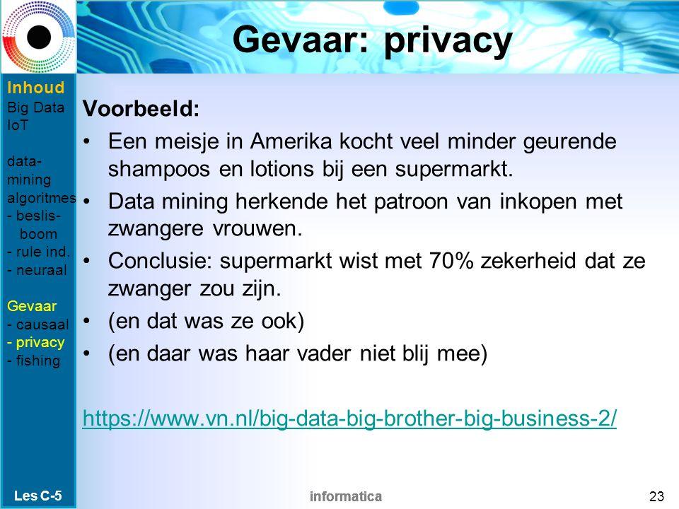 informatica Gevaar: privacy Voorbeeld: Een meisje in Amerika kocht veel minder geurende shampoos en lotions bij een supermarkt. Data mining herkende h