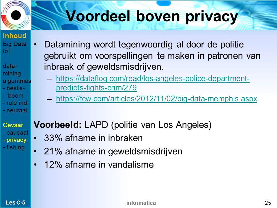 informatica Voordeel boven privacy Datamining wordt tegenwoordig al door de politie gebruikt om voorspellingen te maken in patronen van inbraak of gew