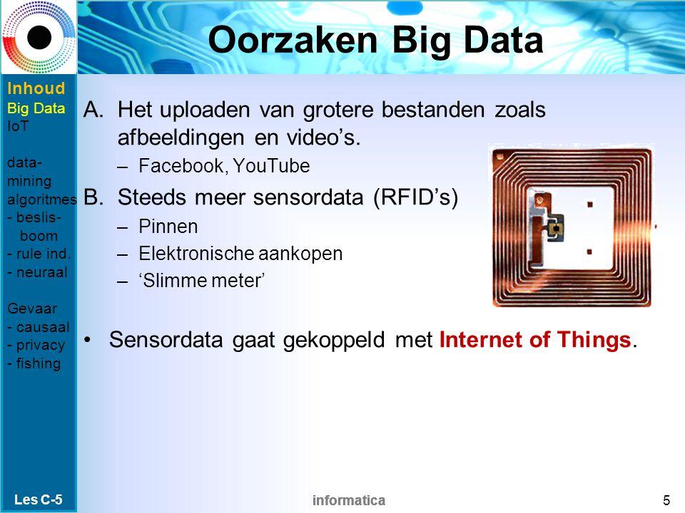 informatica Oorzaken Big Data A.Het uploaden van grotere bestanden zoals afbeeldingen en video's. –Facebook, YouTube B.Steeds meer sensordata (RFID's)