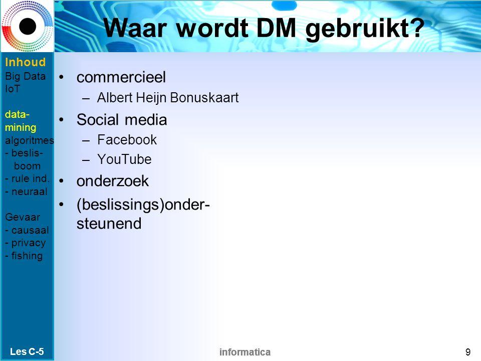 informatica Waar wordt DM gebruikt? commercieel –Albert Heijn Bonuskaart Social media –Facebook –YouTube onderzoek (beslissings)onder- steunend Les C-