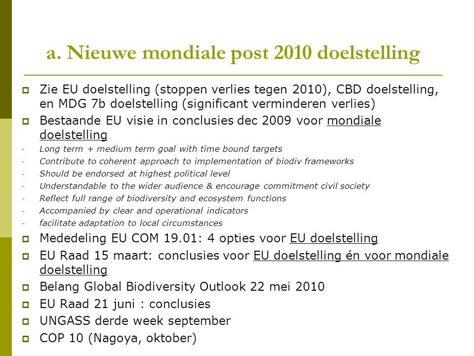 a. Nieuwe mondiale post 2010 doelstelling  Zie EU doelstelling (stoppen verlies tegen 2010), CBD doelstelling, en MDG 7b doelstelling (significant ve