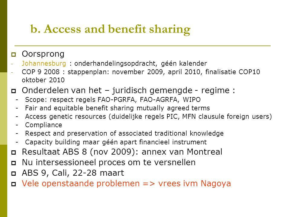 b. Access and benefit sharing  Oorsprong - Johannesburg : onderhandelingsopdracht, géén kalender - COP 9 2008 : stappenplan: november 2009, april 201