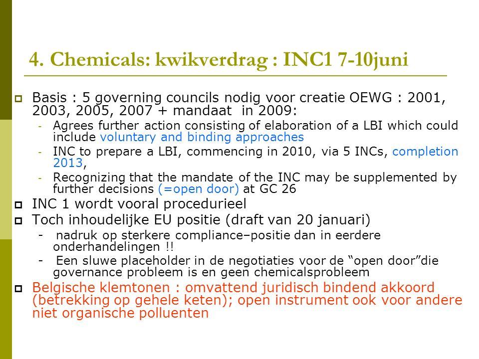 4. Chemicals: kwikverdrag : INC1 7-10juni  Basis : 5 governing councils nodig voor creatie OEWG : 2001, 2003, 2005, 2007 + mandaat in 2009: - Agrees