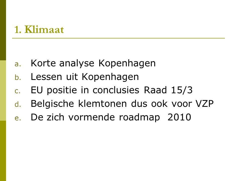 1. Klimaat a. Korte analyse Kopenhagen b. Lessen uit Kopenhagen c.