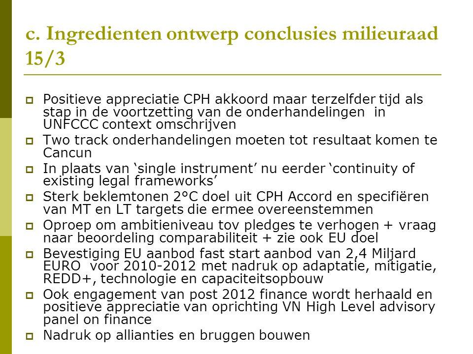 c. Ingredienten ontwerp conclusies milieuraad 15/3  Positieve appreciatie CPH akkoord maar terzelfder tijd als stap in de voortzetting van de onderha