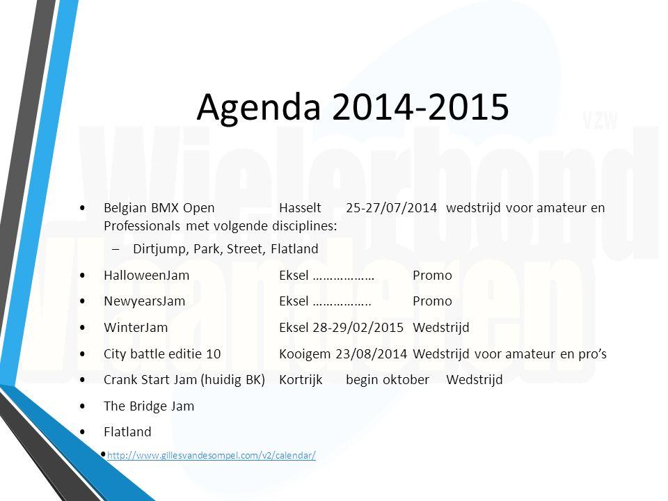 Agenda 2014-2015 Belgian BMX OpenHasselt25-27/07/2014 wedstrijd voor amateur en Professionals met volgende disciplines: –Dirtjump, Park, Street, Flatl