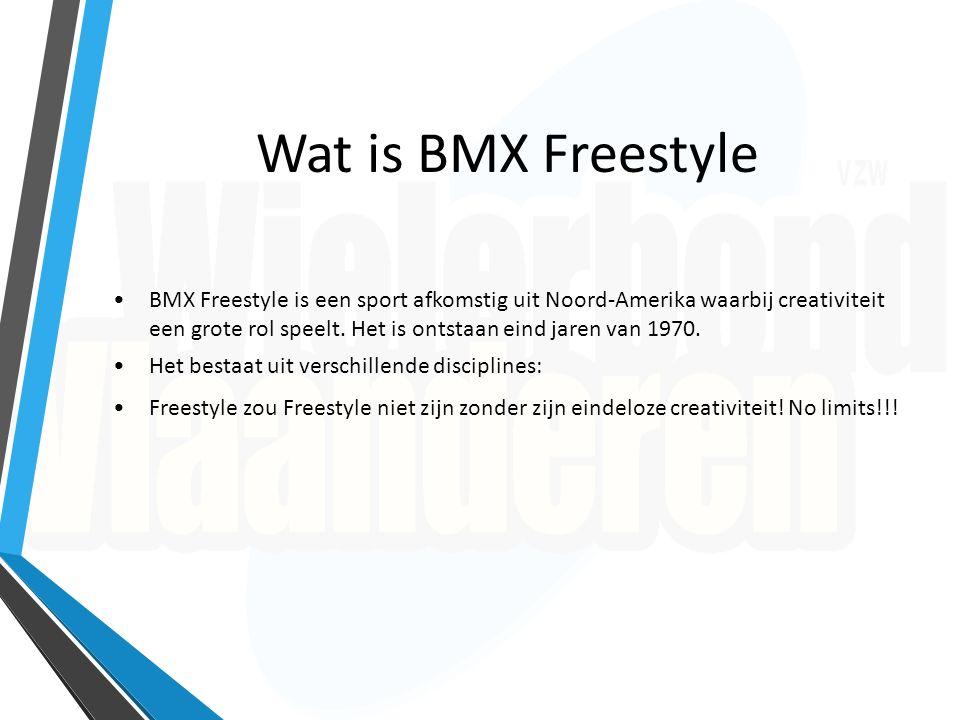 Wat is BMX Freestyle BMX Freestyle is een sport afkomstig uit Noord-Amerika waarbij creativiteit een grote rol speelt. Het is ontstaan eind jaren van